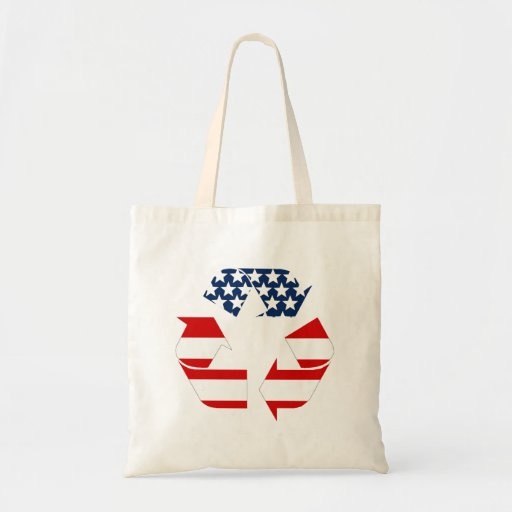 USA Flag - Red White & Blue Recycle Symbol Budget Tote Bag