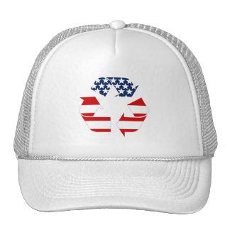 USA Flag - Red White & Blue Recycle Symbol Mesh Hat