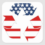 USA Flag - Red White & Blue Recycle Symbol Square Sticker