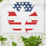 USA Flag - Red White & Blue Recycle Symbol Hand Towels