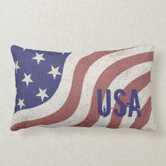 USA flag rustic weathered Lumbar Pillow