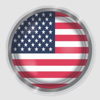 USA Flag Seal, American Flag Art Classic Round Sticker