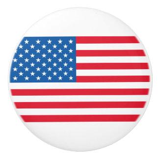USA Flag stars and stripes Ceramic Knob