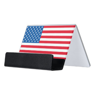 USA Flag stars and stripes Desk Business Card Holder
