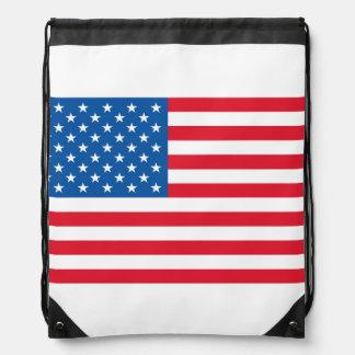 USA Flag stars and stripes Drawstring Bag