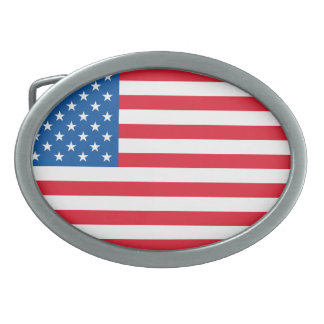 USA Flag stars and stripes Oval Belt Buckle