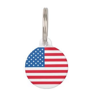 USA Flag stars and stripes Pet ID Tag