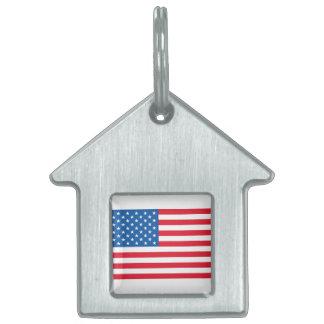 USA Flag stars and stripes Pet Name Tag