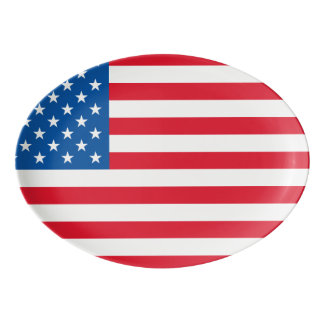 USA Flag stars and stripes Porcelain Serving Platter