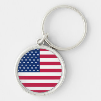 USA Flag Stars and Stripes Round Metal Keychain