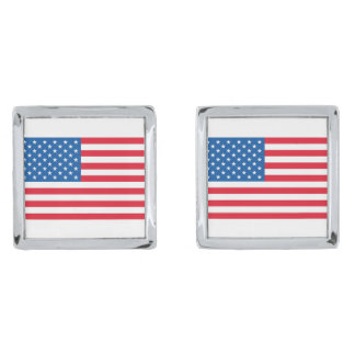 USA Flag stars and stripes Silver Finish Cufflinks
