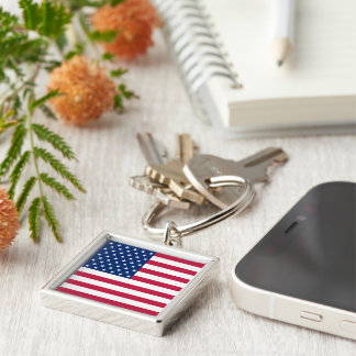 USA Flag Stars and Stripes Square Metal Keychain