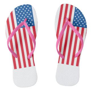 USA Flag stars and stripes Thongs