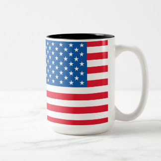 USA Flag stars and stripes Two-Tone Coffee Mug
