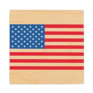 USA Flag stars and stripes Wood Coaster