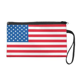 USA Flag stars and stripes Wristlet