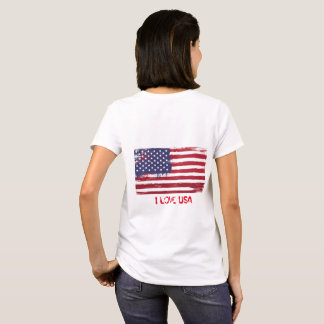 USA Flag T-shirt Women Cotton Shirt