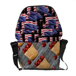 USA Flag Teacher Apples Patriotic Personalize Courier Bags