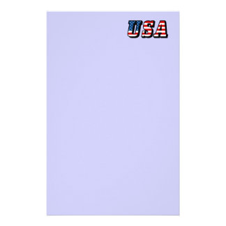 USA Flag Text Stationery Paper