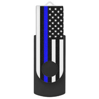 USA Flag The Thin Blue Line Theme USB Flash Drive