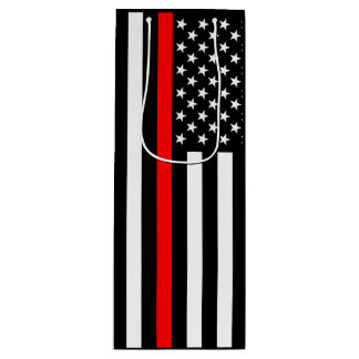 USA Flag The Thin Red Line Theme on a Wine Gift Bag