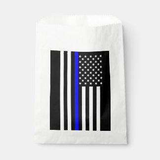 USA Flag Thin Blue Line Symbolic Memorial on a Favour Bags