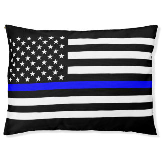 USA Flag Thin Blue Line Symbolic Memorial on a Pet Bed