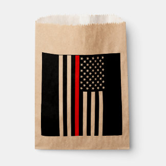 USA Flag Thin Red Line Symbolic Memorial on a Favour Bags