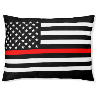 USA Flag Thin Red Line Symbolic Memorial on a Pet Bed