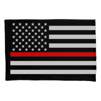 USA Flag Thin Red Line Symbolic Memorial on a Pillowcase