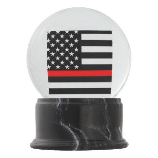 USA Flag Thin Red Line Symbolic Memorial on a Snow Globe