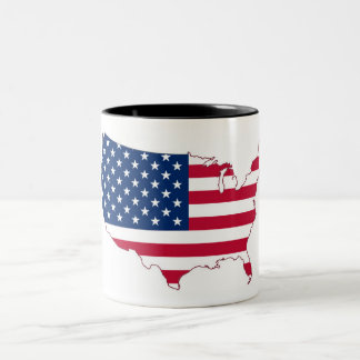 USA Flag Two-Tone Coffee Mug
