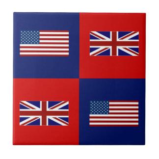 USA Flag & UK Flag Pattern Ceramic Tile