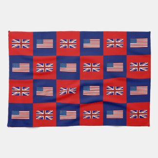 USA Flag & UK Flag Pattern Tea Towel