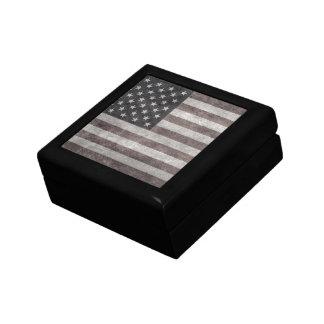 USA Flag, Vintage Retro American Flag On Canvas Small Square Gift Box