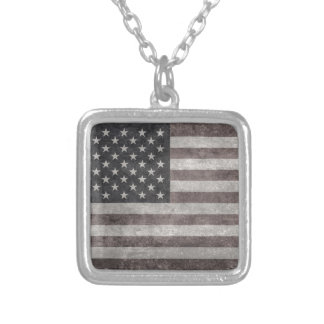 USA Flag, Vintage Retro American Flag On Canvas Square Pendant Necklace