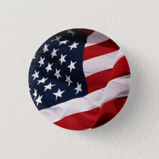 USA Flag Waving 3 Cm Round Badge