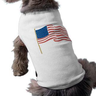 USA Flag Waving on Flagpole Sleeveless Dog Shirt