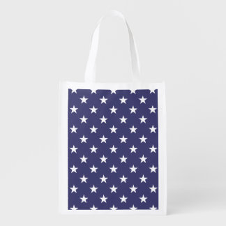 USA Flag White Stars on Flag Blue Reusable Grocery Bag