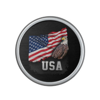 USA Flag with Bald Eagle 4th of July Bluetooth Speaker
