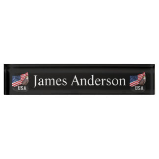 USA Flag with Bald Eagle 4th of July Desk Name Plate