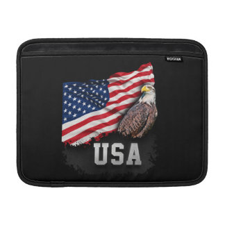 USA Flag with Bald Eagle 4th of July MacBook Sleeves