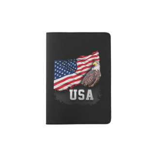 USA Flag with Bald Eagle 4th of July Passport Holder
