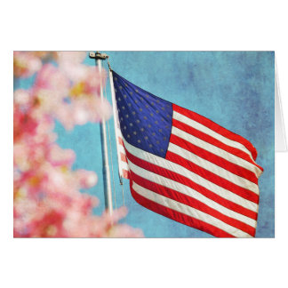 USA Flag with Dogwood Flowers Greeting Card