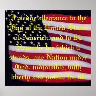 USA flag with pledge overlay print