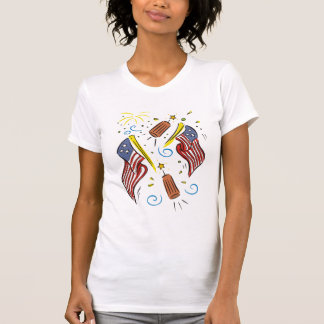 USA Flags and FIrecrackers Tees - Add Your Text