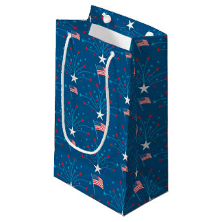USA Flags and Fireworks Small Gift Bag