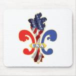 USA Fleur de lis Mouse Pad