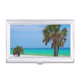 USA, Florida. Palm Trees On Emerald Coast Business Card Holder
