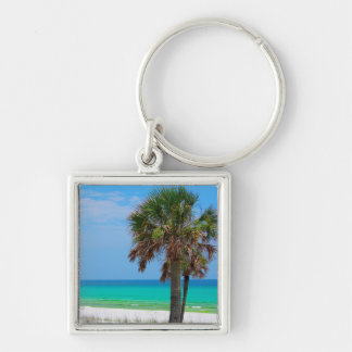 USA, Florida. Palm Trees On Emerald Coast Silver-Colored Square Key Ring